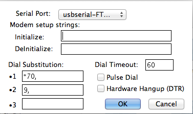 Z-Term Modem Preferences: select the usb-serial entry that matches your cable's /dev entry