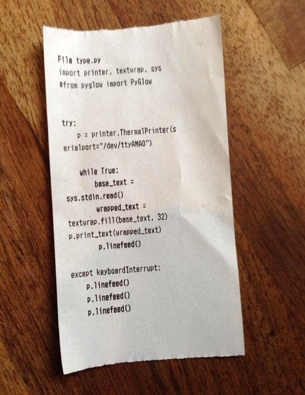 Printed listing