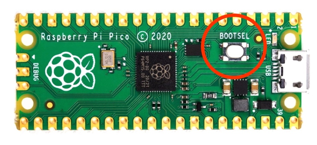 The Raspberry Pi Pico's boot select button