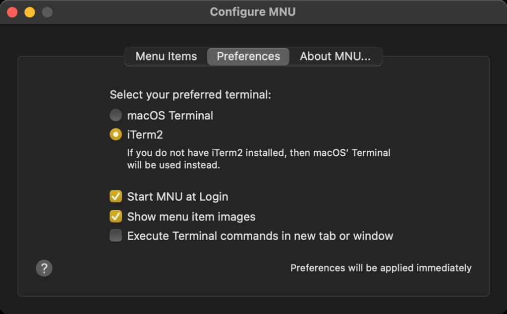 MNU preferences